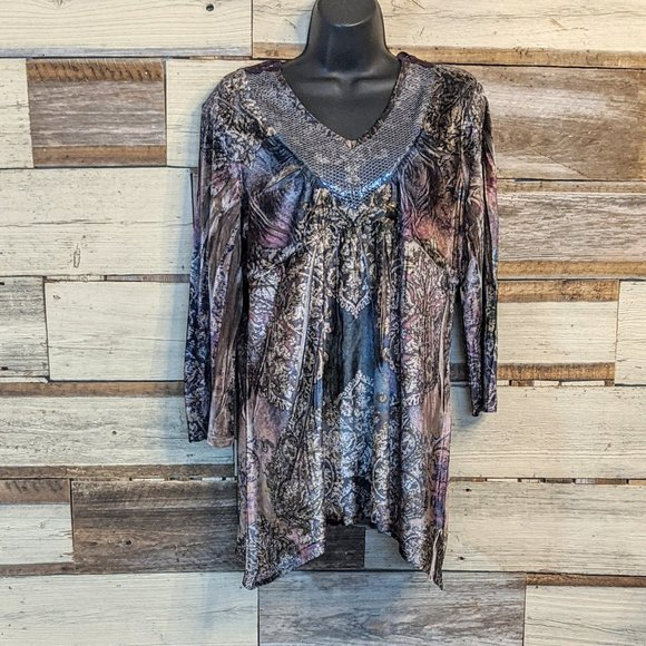 Tops - Velvety Boho Smock Top w/ Sequin front & Lace back
